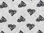 RESTSTÜCK 62 CM Viskose Jersey gestrichelte Herzen, schwarz/grau