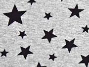 Viskosejersey Sterne, schwarz grau melange