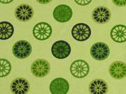 Jerseystoff Orangenscheiben, hellgrün