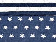 RESTSTÜCK 58 cm Doubleface Jersey Sterne weiss auf navy