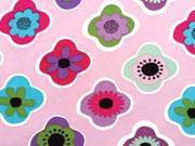 RESTSTÜCK 75 cm Softshell Stoff Retro-Blüten, bunt auf altrosa