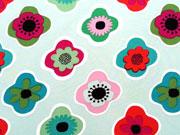 RESTSTÜCK 87 cm Softshell Stoff Retro-Blüten, bunt auf mint