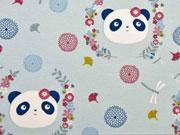 RESTSTÜCK 49 cm Sweatstoff French Terry Pandas & Libellen, helles mint