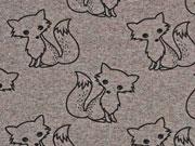 French Terry Doodle Fox, braun melange