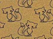 French Terry Doodle Fox, ocker melange