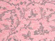 RESTSTÜCK 45 cm French Terry Vögel & Blattwerk, rosa meliert