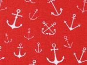 Baumwolle verschiedene Anker, weiß auf rot