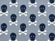 Baumwollstoff Totenköpfe & Knochen, grau