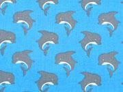 RESTSTÜCK 39 cm Baumwollstoff Delfine, hellblau