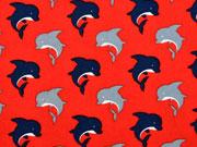 Baumwollstoff Delfine, rot