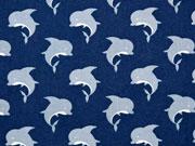 RESTSTÜCK 31 cm Baumwollstoff Delfine, dunkelblau