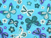 Baumwollstoff Schmetterlinge & Blumen, türkis