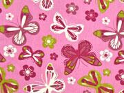 Baumwollstoff Schmetterlinge & Blumen, altrosa