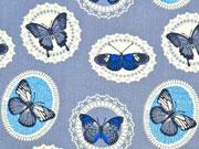 Baumwollstoff Ornamente & Schmetterlinge, grau