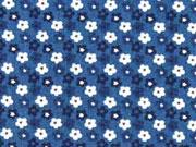 RESTSTÜCK 36 cm Baumwolle Blümchen, indigoblau