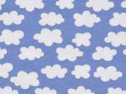 RESTSTÜCK 30 cm Jersey kleine Wolken, jeansblau