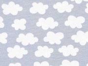 RESTSTÜCK 45 cm Jersey kleine Wolken, hellgrau
