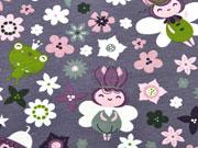 Jersey Waldmännchen & Blumen, mauve