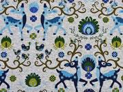 Jersey Rehe & Vögel, graumelange / blau