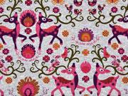 Jersey Rehe & Vögel, pink/ hellgrau melange