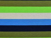 RESTSTÜCK 66 cm Jersey Blockstreifen 2 cm, hellgrün hellgrau