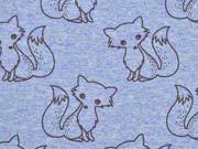 RESTSTÜCK 30 cm French Terry Doodle Fox, hellblau melange