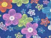 RESTSTÜCK 33 cm weicher Stretchjeans bunte Blumen, jeansblau