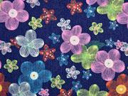 weicher Stretchjeans bunte Blumen, dunkelblau