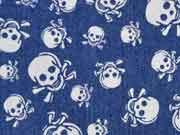 weicher Stretchjeansstoff Totenköpfe, jeansblau