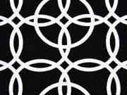 RESTSTÜCK 29 cm Crepe Jersey Kringel, weiß auf schwarz