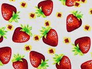 Baumwollstoff Erdbeeren, rot weiß