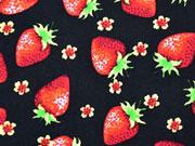 Baumwolle Erdbeeren, schwarz