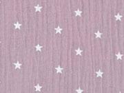 RESTSTÜCK 42 cm weicher Musselin Sterne, helles altrosa