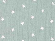 RESTSTÜCK 46 cm weicher Musselin Sterne, pastellmint