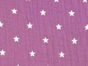 RESTSTÜCK 35 cm weicher Musselin Sterne, pastell bordeaux