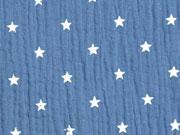 RESTSTÜCK 24 cm weicher Musselin Sterne, jeansblau