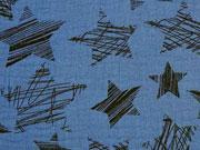 RESTSTÜCK 49 cm weicher Musselin Kritzelsterne, jeansblau