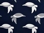 Jersey Schildkröten, grau/weiß auf dunkelblau
