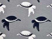Jersey Schildkröten, dunkelblau/weiß auf grau