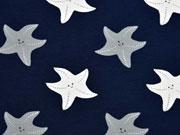 RESTSTÜCK 43 cm Jersey Seesterne, grau/weiß auf dunkelblau