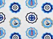Jersey Buttons Leuchttürme & Segelboote, cremeweiß