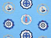Jerseystoff Leuchturm Segelboote, hellblau