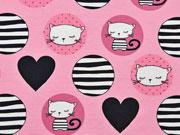 RESTSTÜCK 41 cm Jersey gestreifte Kreise & Katzen, rosa