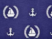Dekostoff Anker & Boote, helltaupe marineblau