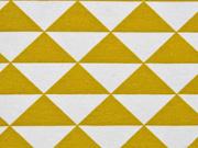 RESTSTÜCK 24 cm Dekostoff Dreiecke, senfgelb weiss