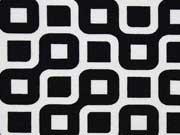 Dekostoff Labyrinth, weiß/schwarz