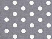 Dekostoff Punkte, weiß grau