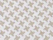 Leinenlook Hahnentritt, natur weiß