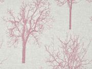 Leinenlook Bäume, altrosa natur
