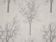 Leinenlook Bäume, taupe